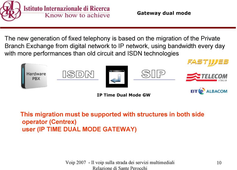 more performances than old circuit and ISDN technologies IP Time Dual Mode GW This migration