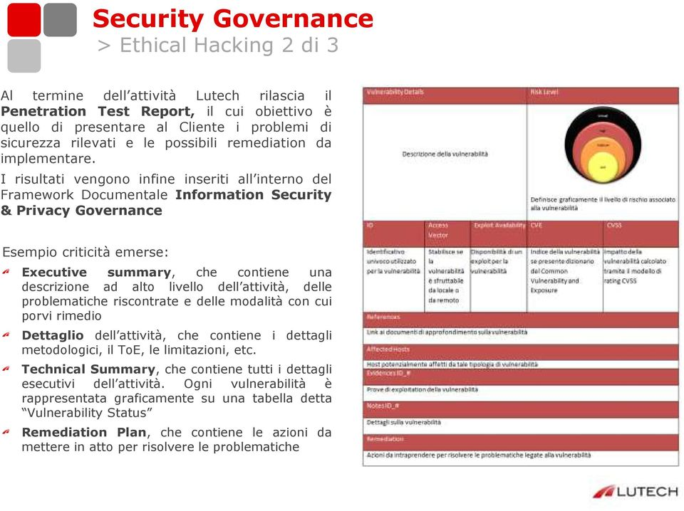 I risultati vengono infine inseriti all interno del Framework Documentale Information Security & Privacy Governance Esempio criticità emerse: Executive summary, che contiene una descrizione ad alto