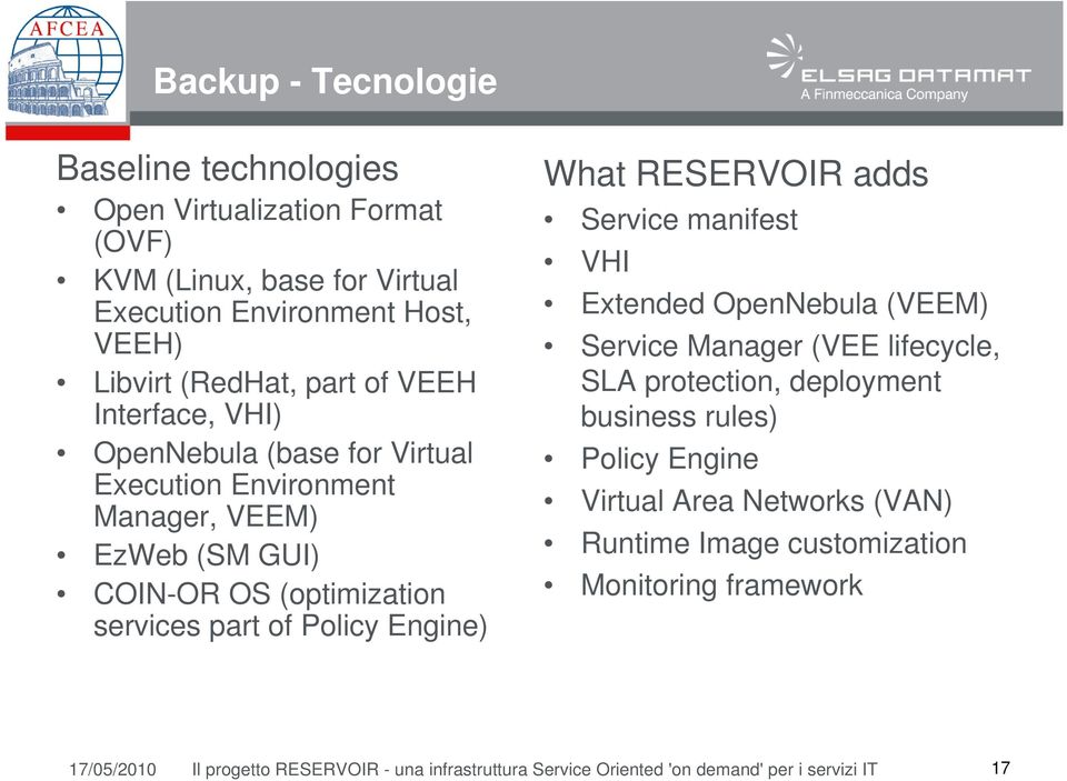 RESERVOIR adds Service manifest VHI Extended OpenNebula (VEEM) Service Manager (VEE lifecycle, SLA protection, deployment business rules) Policy Engine Virtual Area