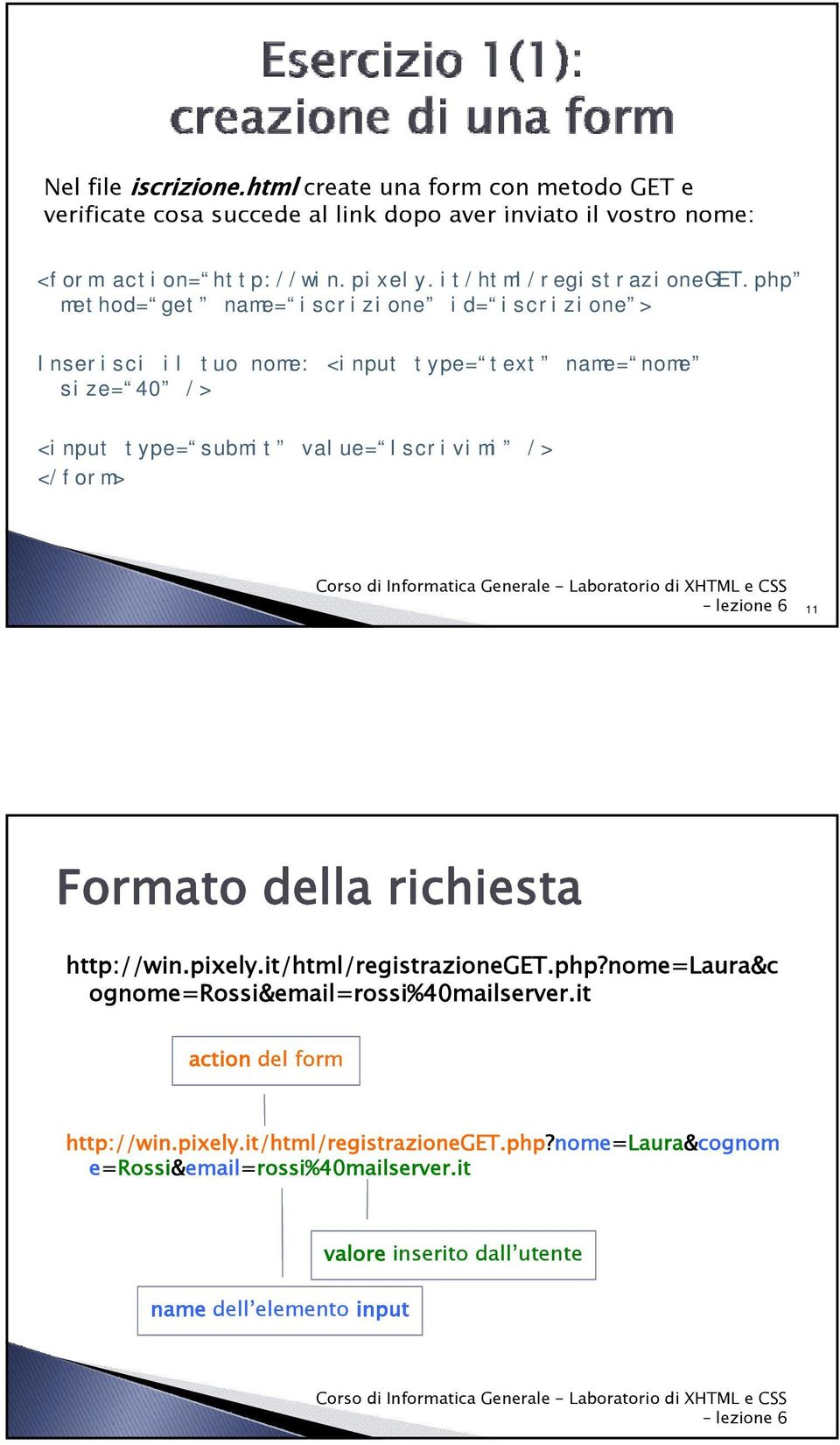 php method= get name= iscrizione id= iscrizione > Inserisci il tuo nome: <input type= text name= nome size= 40 /> <input type= submit value= Iscrivimi /> </form>