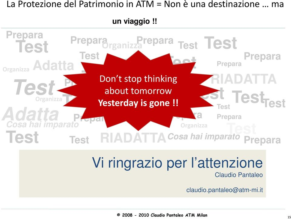 ! Adatta Organizza Prepara Don t Prepara stop thinking about tomorrow Yesterdayisgone!