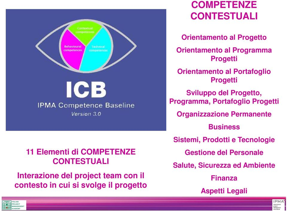 Business 11 Elementi di COMPETENZE CONTESTUALI Interazione del project team con il contesto in cui si
