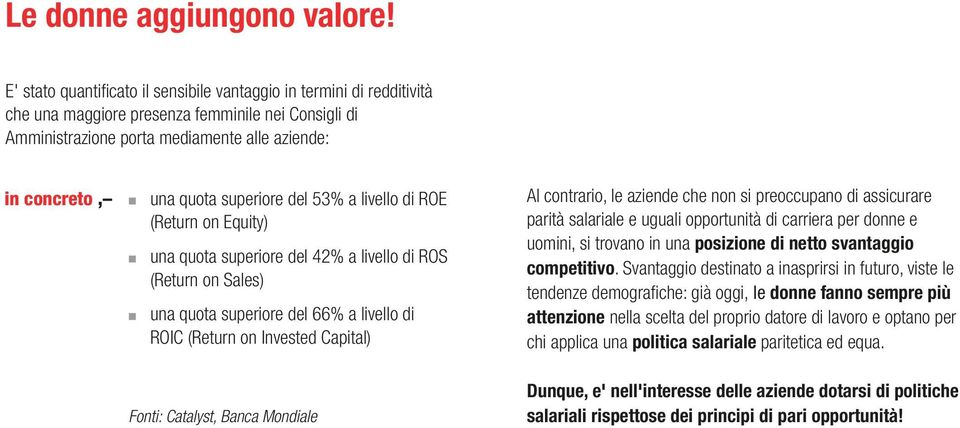 livello di ROE (Return on Equity) una quota superiore del 42% a livello di ROS (Return on Sales) una quota superiore del 66% a livello di ROIC (Return on Invested Capital) Al contrario, le aziende