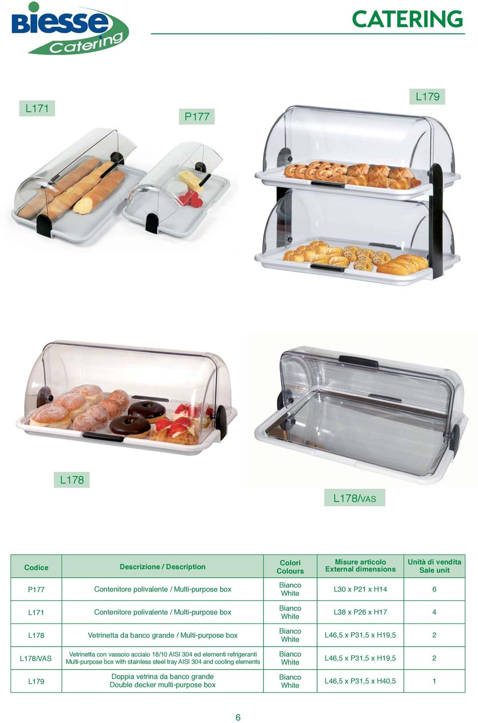 L178/VAS Vetrinetta con vassoio acciaio 18/10 AISI 04 ed elementi refrigeranti Multi-purpose box with stainless steel tray