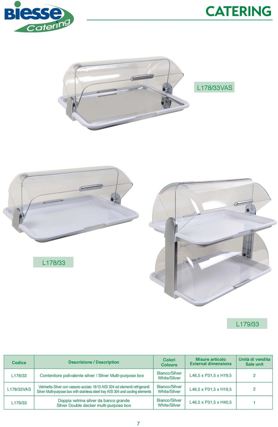 Multi-purpose box with stainless steel tray AISI 04 and cooling elements /Silver /Silver L4,5 x P1,5 x H19,5 2