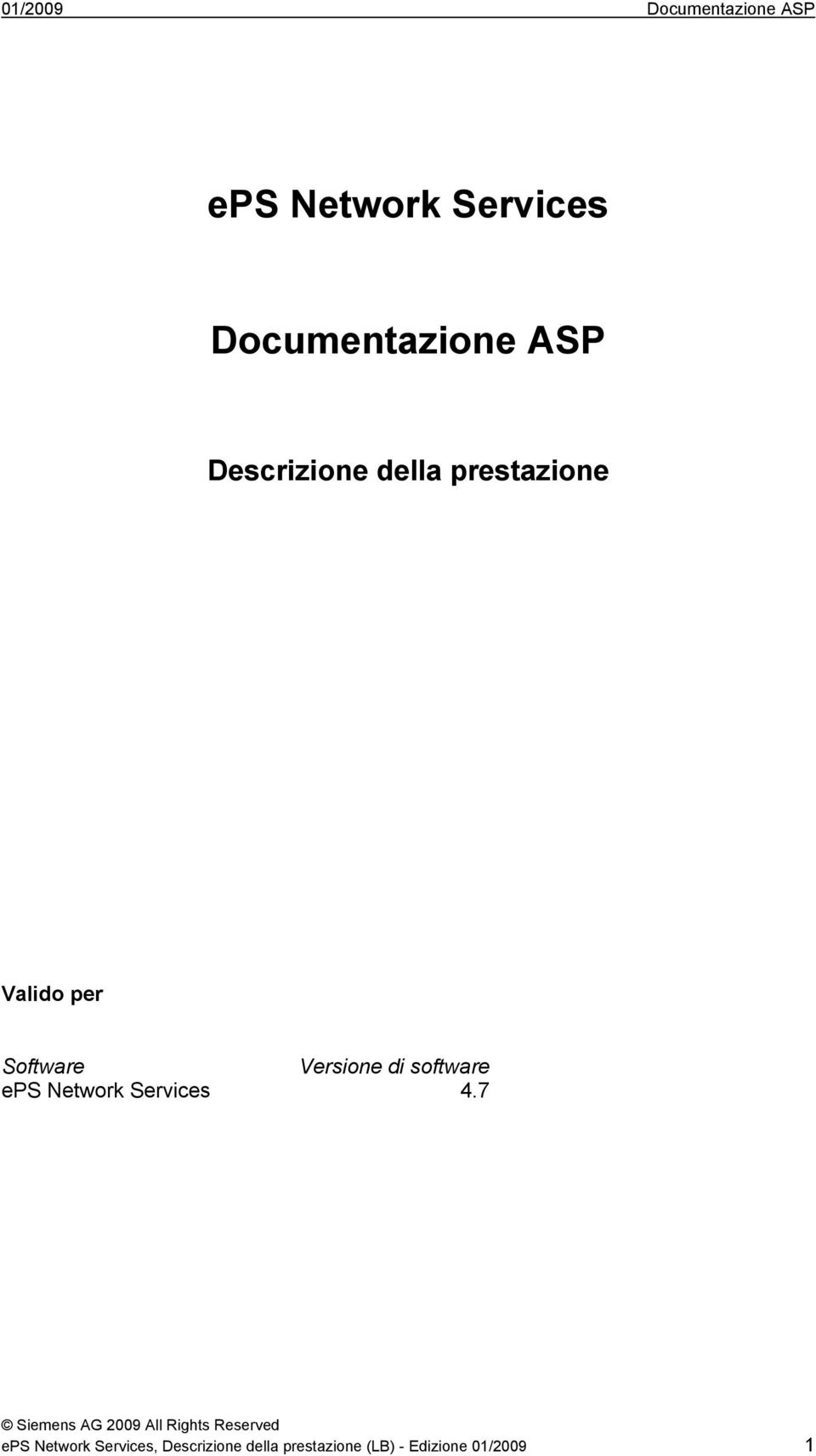 Software Versione di software eps Network Services 4.