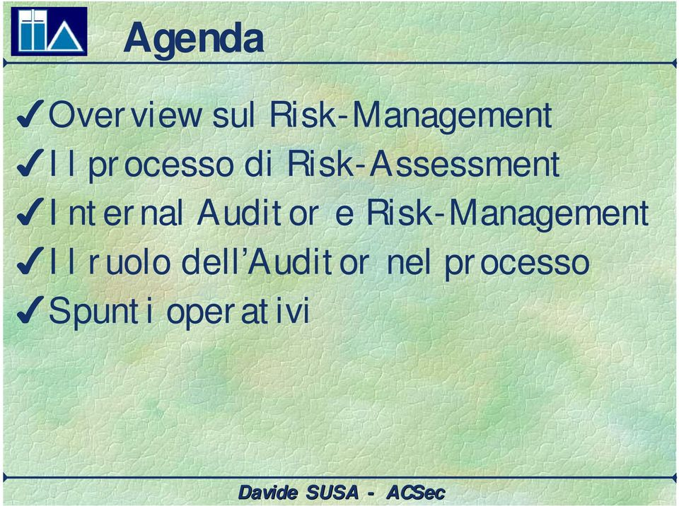 Auditor e Risk-Management Il ruolo