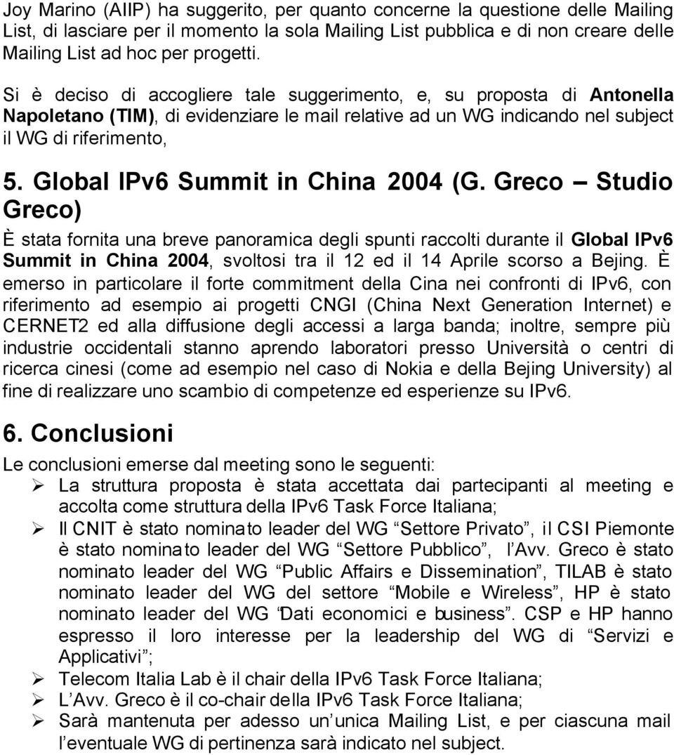 Global IPv6 Summit in China 2004 (G.