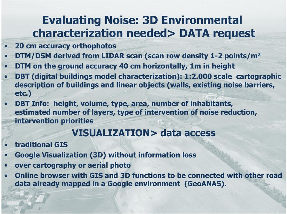 ) DBT Info: height, volume, type, area, number of inhabitants, estimated number of layers, type of intervention of noise reduction, intervention priorities VISUALIZATION> data access traditional