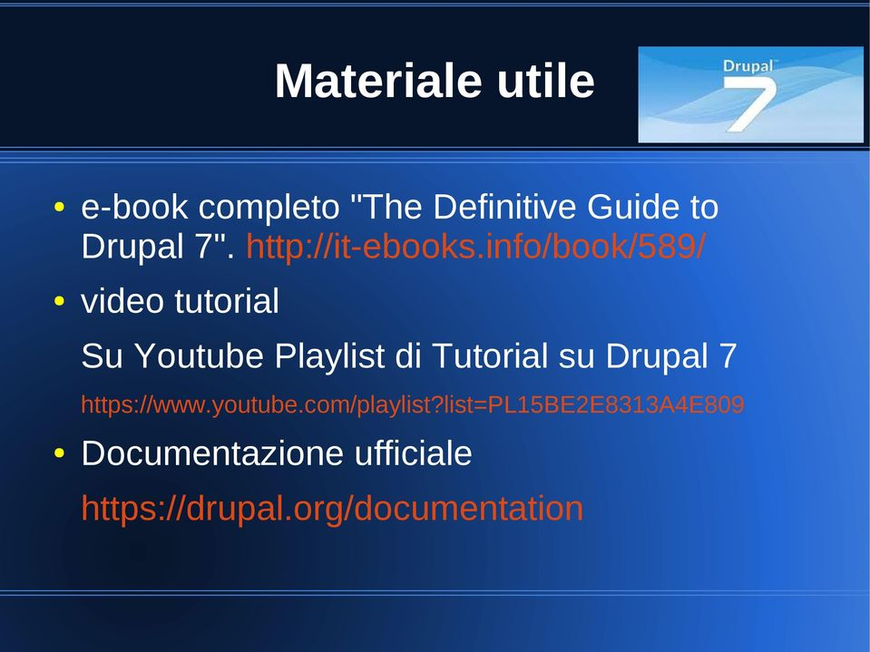 info/book/589/ video tutorial Su Youtube Playlist di Tutorial su