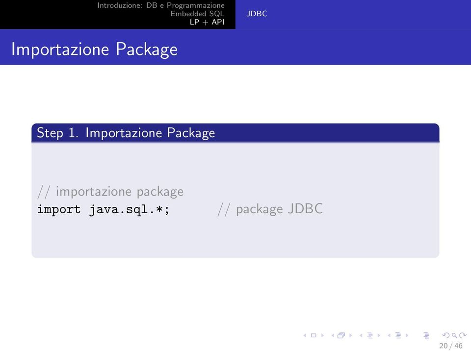 importazione package import