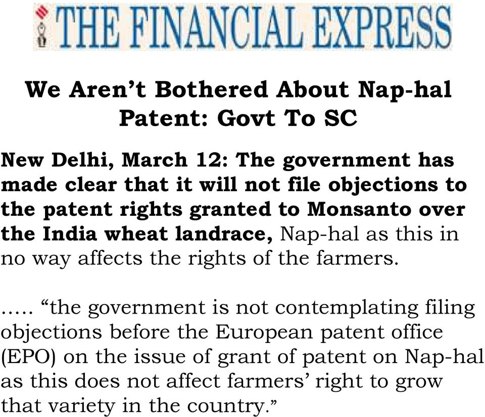 affects the rights of the farmers.