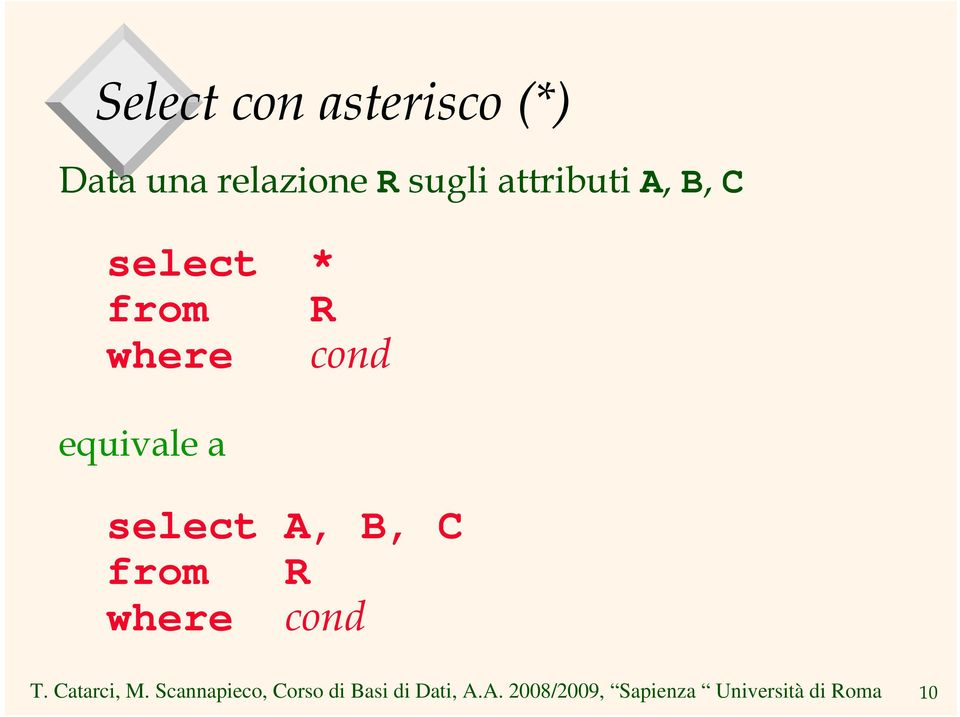 select * from R where cond equivale