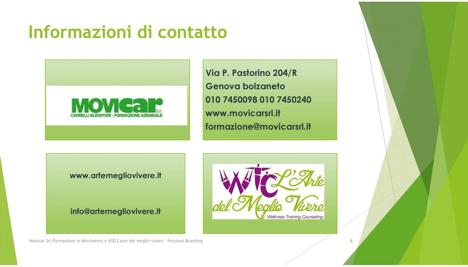 movicarsrl.it formazione@movicarsrl.it www.artemegliovivere.
