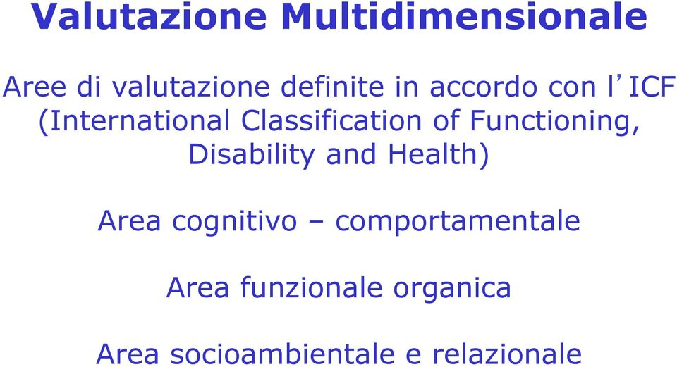 Functioning, Disability and Health) Area cognitivo