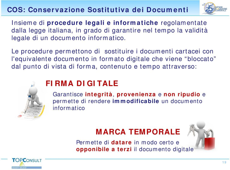 Le procedure permettono di sostituire i documenti cartacei con l'equivalente documento in formato digitale che viene bloccato dal punto di vista di