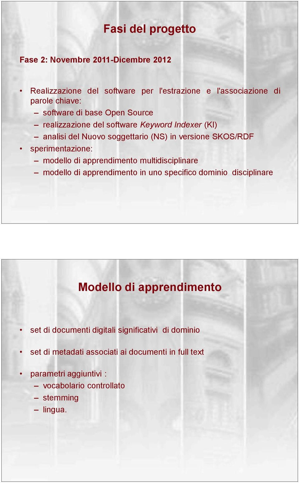 di apprendimento multidisciplinare modello di apprendimento in uno specifico dominio disciplinare Modello di apprendimento set di documenti