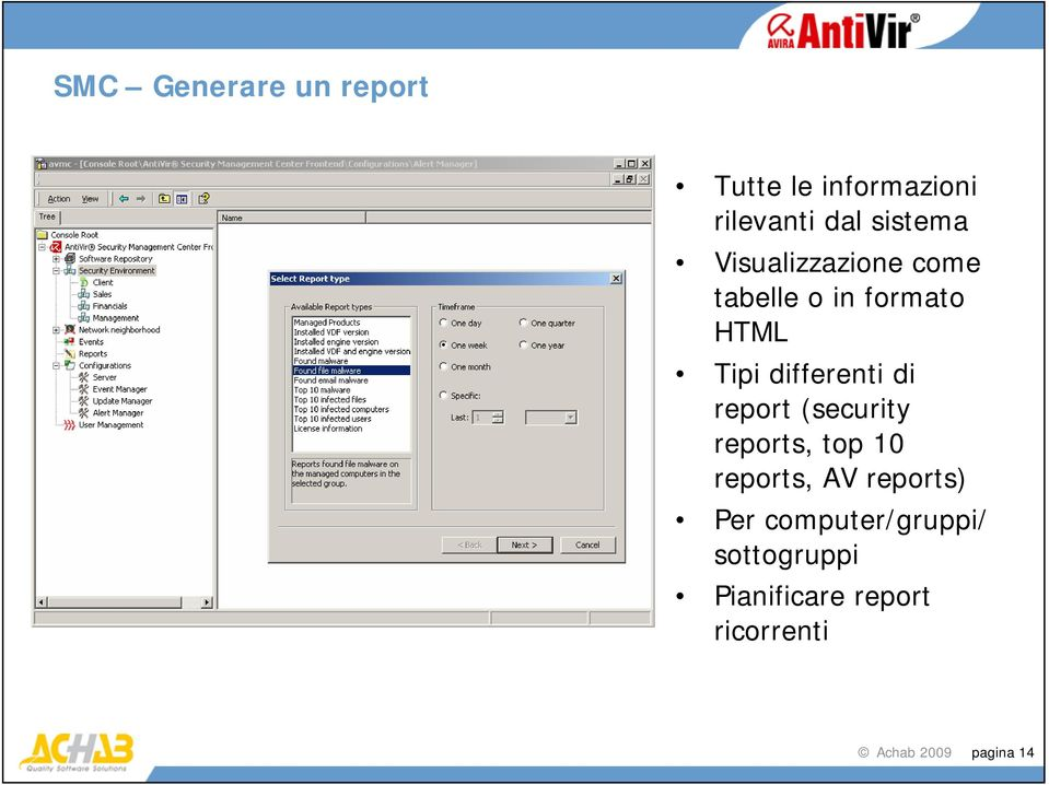 report (security reports, top 10 reports, AV reports) Per