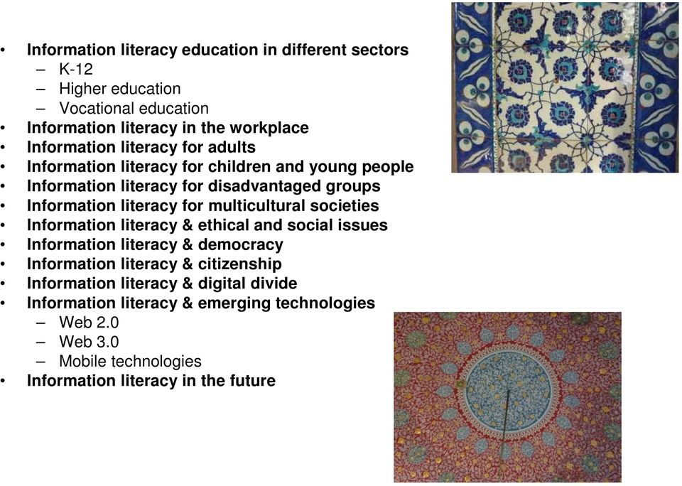 multicultural societies Information literacy & ethical and social issues Information literacy & democracy Information literacy & citizenship