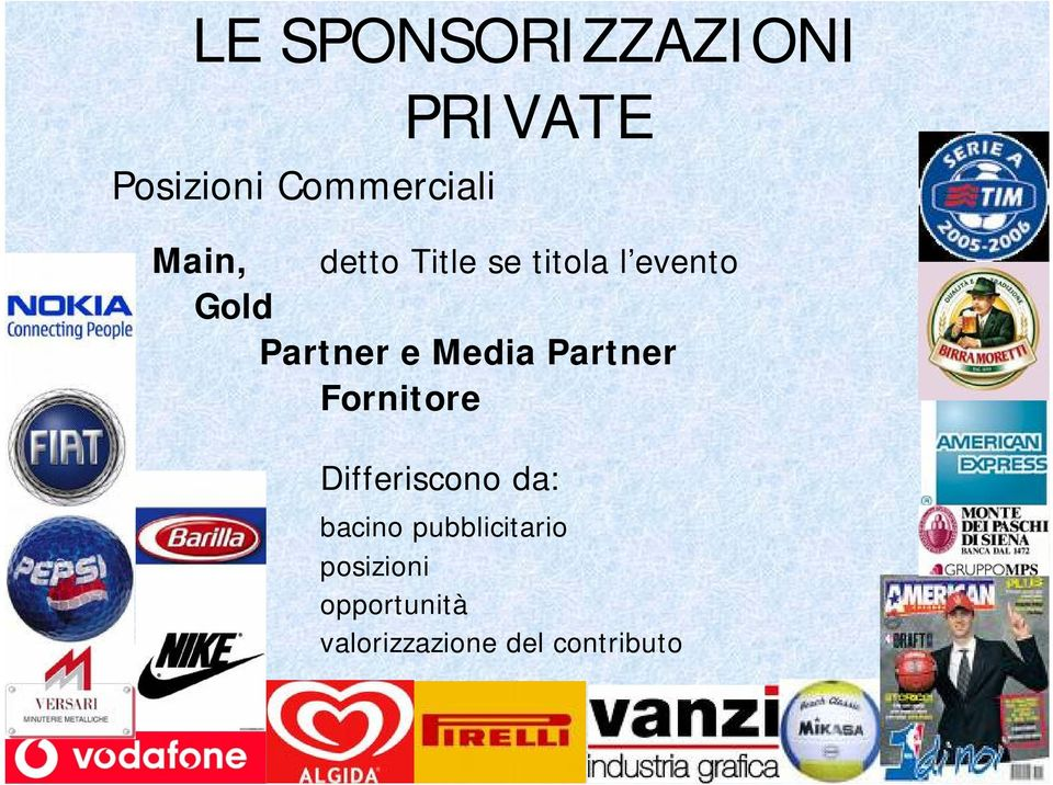 Media Partner Fornitore Differiscono da: bacino