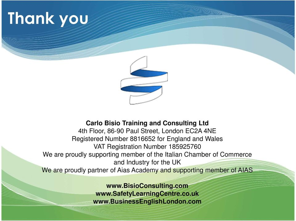 of the Italian Chamber of Commerce and Industry for the UK We are proudly partner of Aias Academy and
