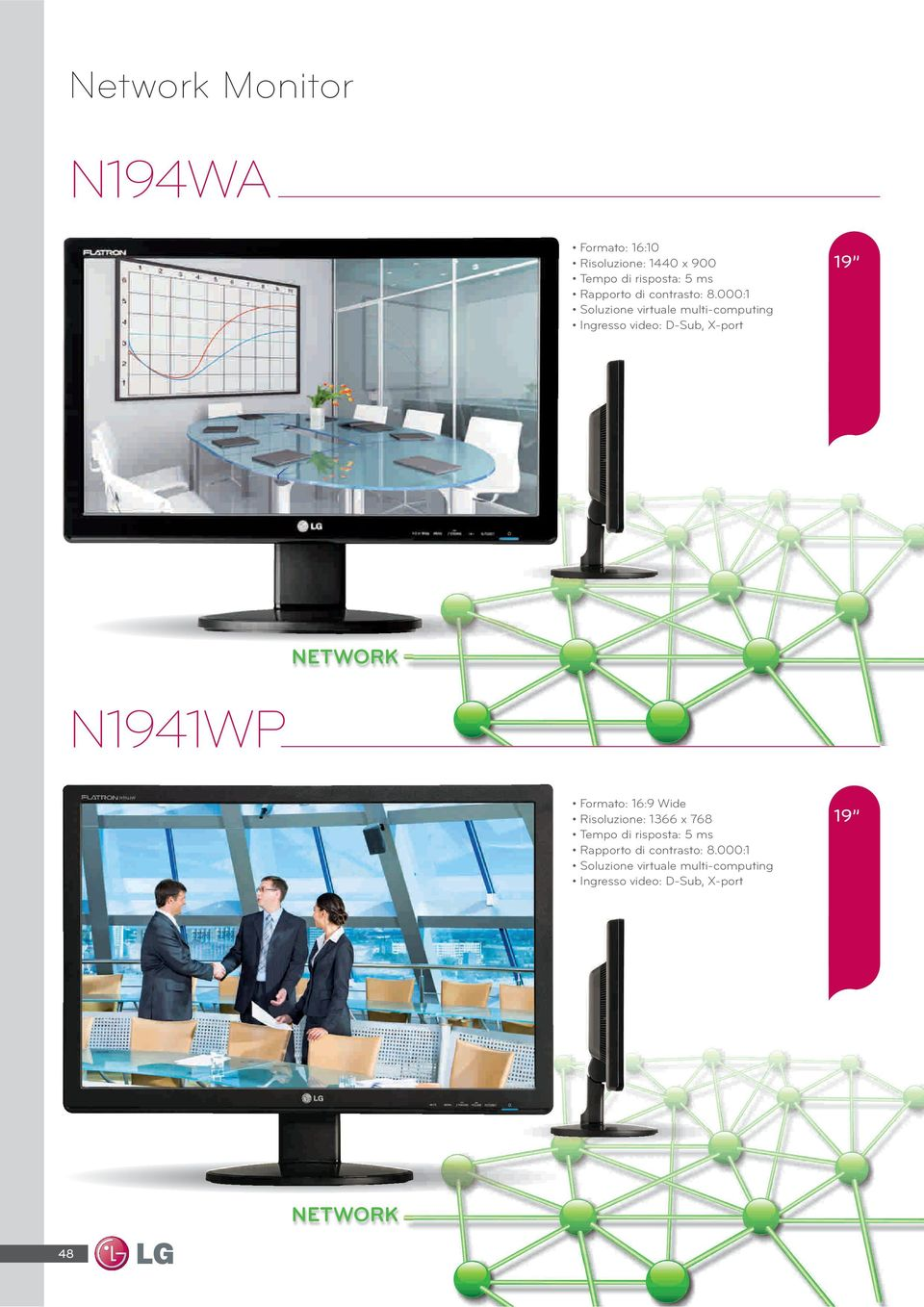 000:1 Soluzione virtuale multi-computing Ingresso video: D-Sub, X-port 19 NETWORK N1941WP