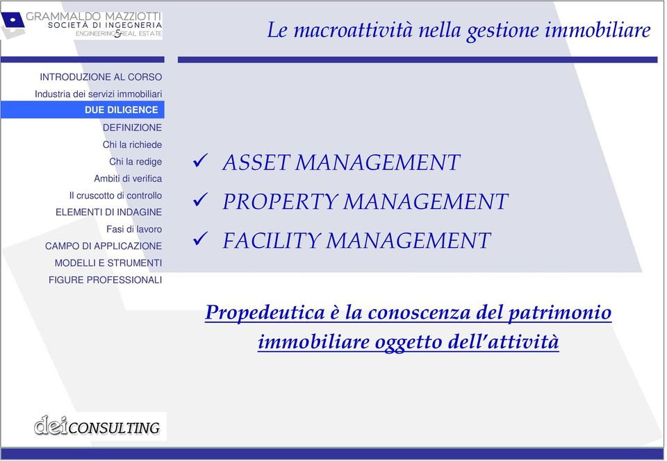 FACILITY MANAGEMENT Propedeutica è la