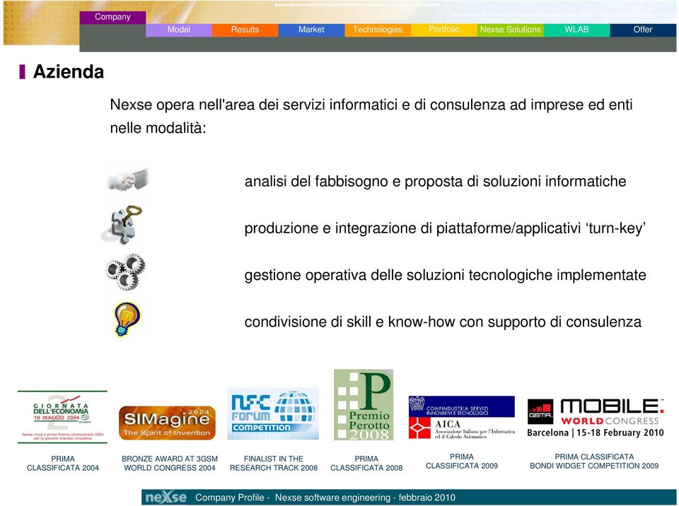 soluzioni tecnologiche implementate condivisione di skill e know-how con supporto di consulenza PRIMA CLASSIFICATA 2004 BRONZE AWARD AT 3GSM