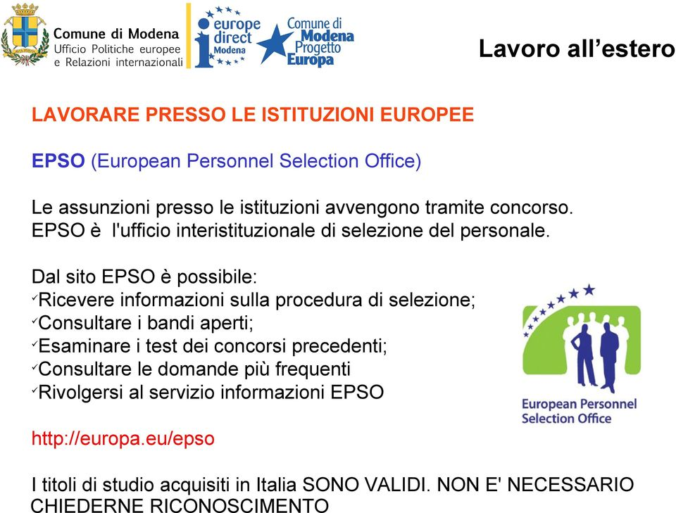 Muoversi in europa lavoro pdf - European personnel selection office epso ...