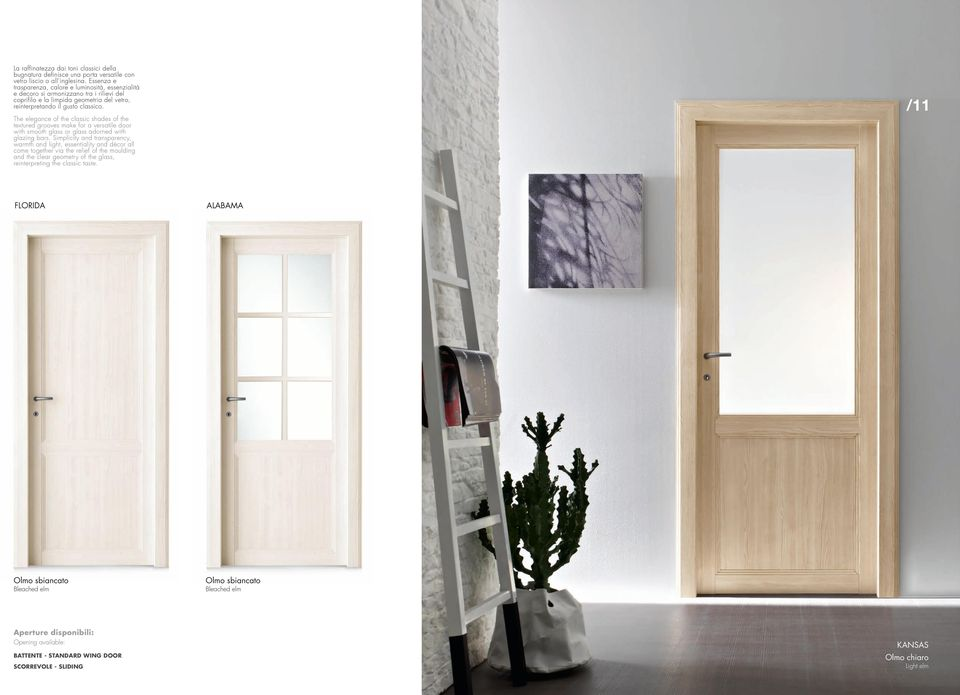 /11 The elegance of the classic shades of the textured grooves make for a versatile door with smooth glass or glass adorned with glazing bars.
