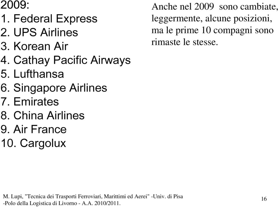 Emirates 8. China Airlines 9. Air France 10.