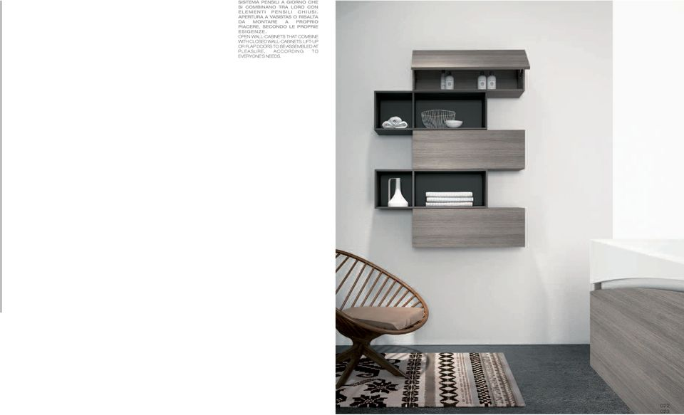 ESIGENZE. OPEN WALL-CABINETS THAT COMBINE WITH CLOSED WALL-CABINETS.