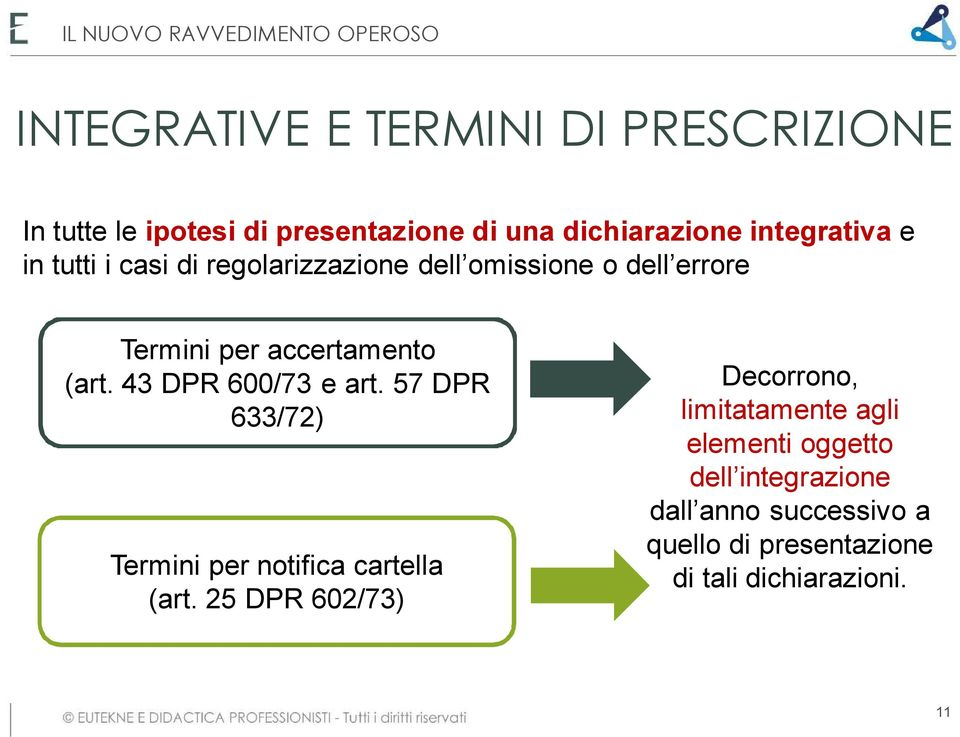 43 DPR 600/73 e art. 57 DPR 633/72) Termini per notifica cartella (art.