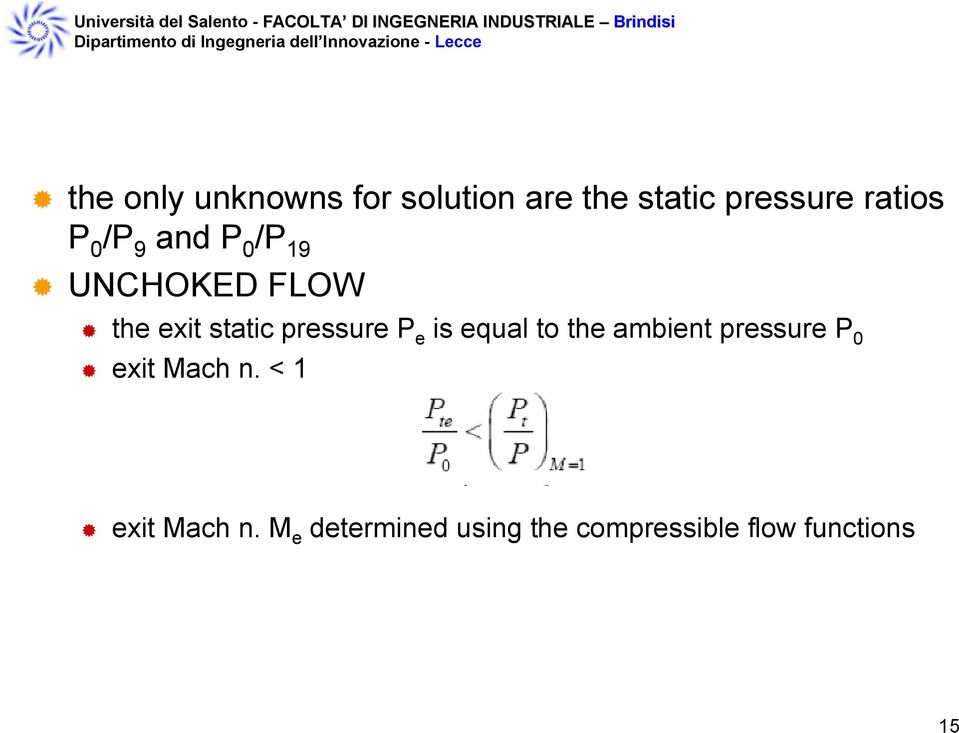 P e is equal to the ambient pressure P 0 exit Mach n.