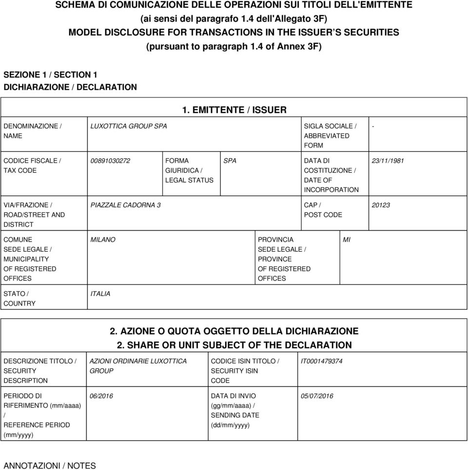 EMITTENTE / ISSUER DENOMINAZIONE / NAME LUXOTTICA GROUP SPA SIGLA SOCIALE / ABBREVIATED FORM - CODICE FISCALE / TAX CODE 00891030272 FORMA GIURIDICA / LEGAL STATUS SPA DATA DI COSTITUZIONE / DATE OF
