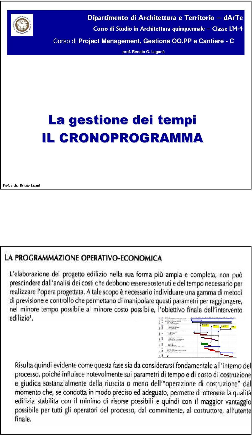 Project Management, Gestione OO.PP e Cantiere - C prof.