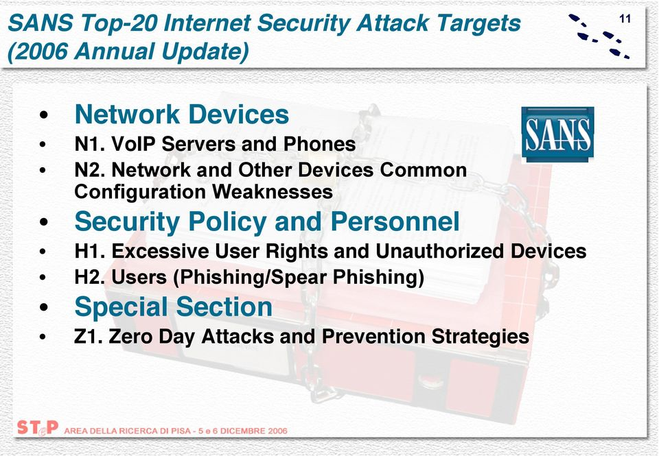 Network and Other Devices Common Configuration Weaknesses Security Policy and Personnel