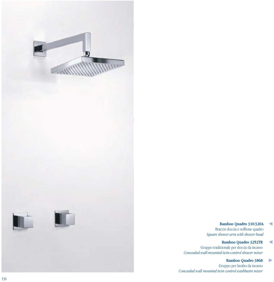 incasso Concealed wall-mounted twin-control shower mixer Bamboo Quadro 3868