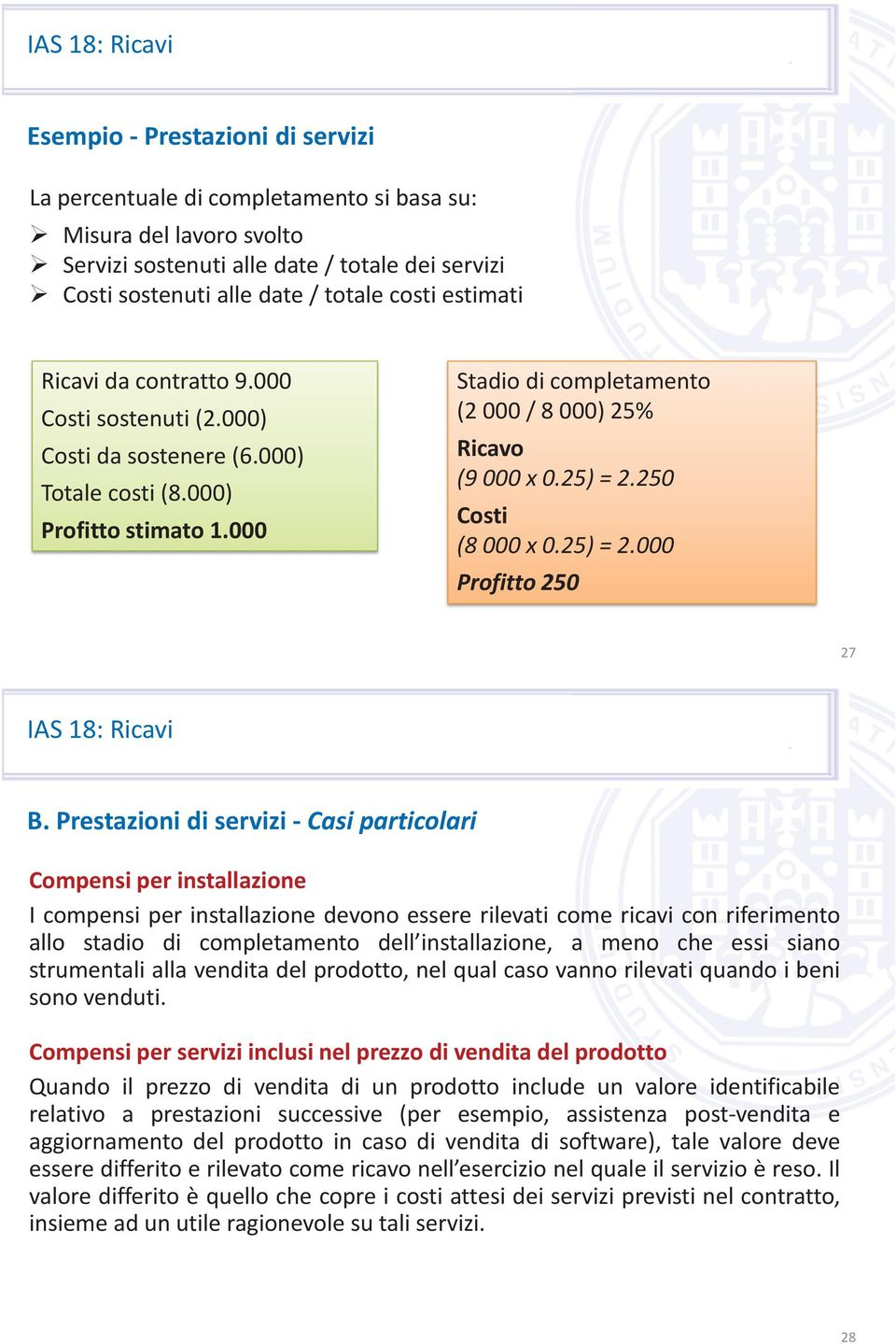 250 Costi (8 000 x 0.25) = 2.000 Profitto 250 27 B.