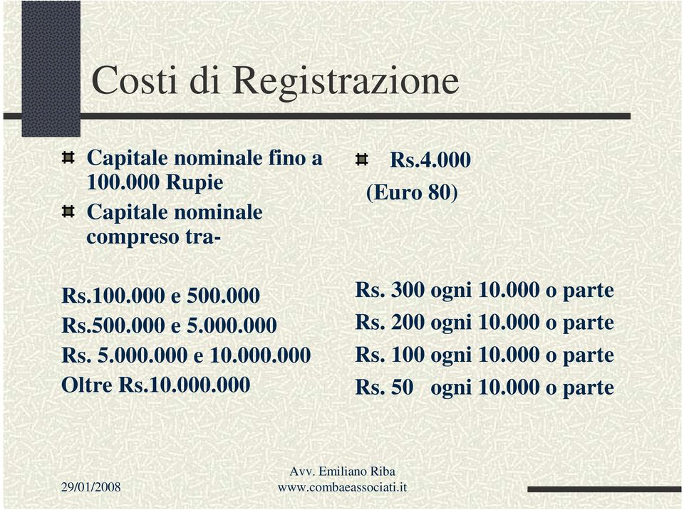 000.000 Oltre Rs.10.000.000 Rs.4.000 (Euro 80) Rs. 300 ogni 10.000 o parte Rs.