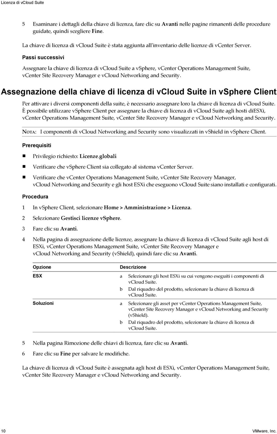 Passi successivi Assegnare la chiave di licenza di vcloud Suite a vsphere, vcenter Operations Management Suite, vcenter Site Recovery Manager e vcloud Networking and Security.