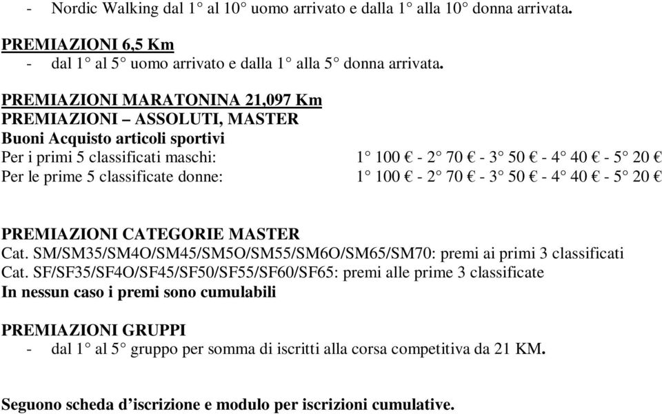 donne: 1 100-2 70-3 50-4 40-5 20 PREMIAZIONI CATEGORIE MASTER Cat. SM/SM35/SM4O/SM45/SM5O/SM55/SM6O/SM65/SM70: premi ai primi 3 classificati Cat.
