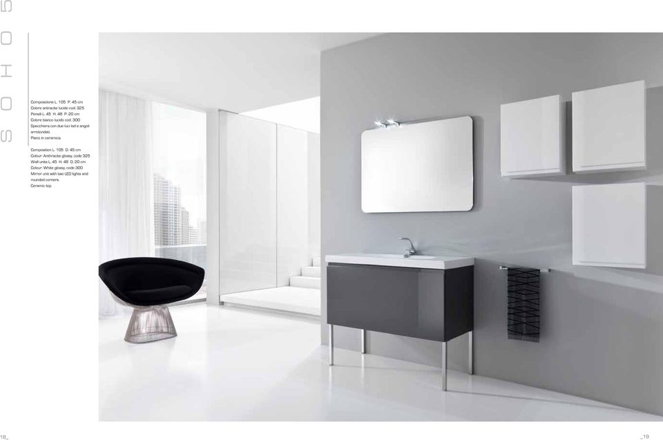 Piano in ceramica. Composition L. 105 D. 45 cm Colour: Anthracite glossy, code 325 Wall units L.