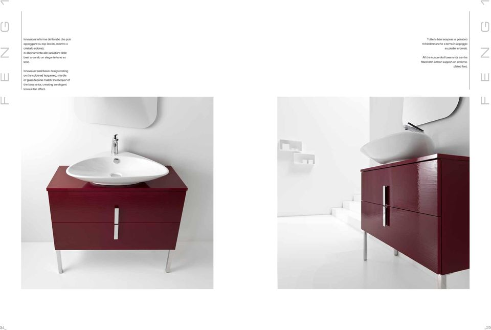 Innovative washbasin design resting on the coloured lacquered, marble or glass tops to match the lacquer of the base units, creating
