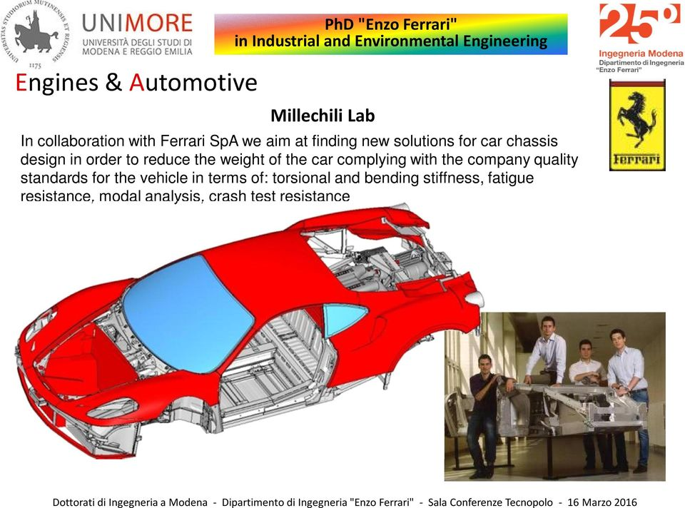 to reduce the weight of the car complying with the company quality standards for the vehicle in