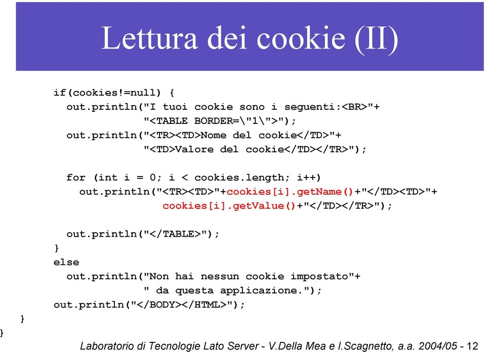 "println(""<tr><td>""+cookies[i].getname()+""</td><td>""+ cookies[i].getvalue()+""</td></tr>""); } } out.println(""</table>""); } else out."