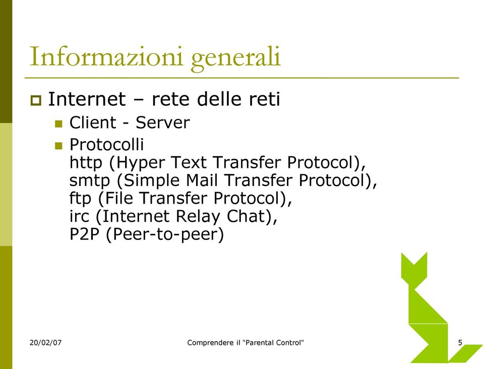 Transfer Protocol), ftp (File Transfer Protocol), irc (Internet