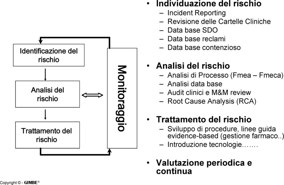 Processo (Fmea Fmeca) Analisi data base Audit clinici e M&M review Root Cause Analysis (RCA) Trattamento del rischio