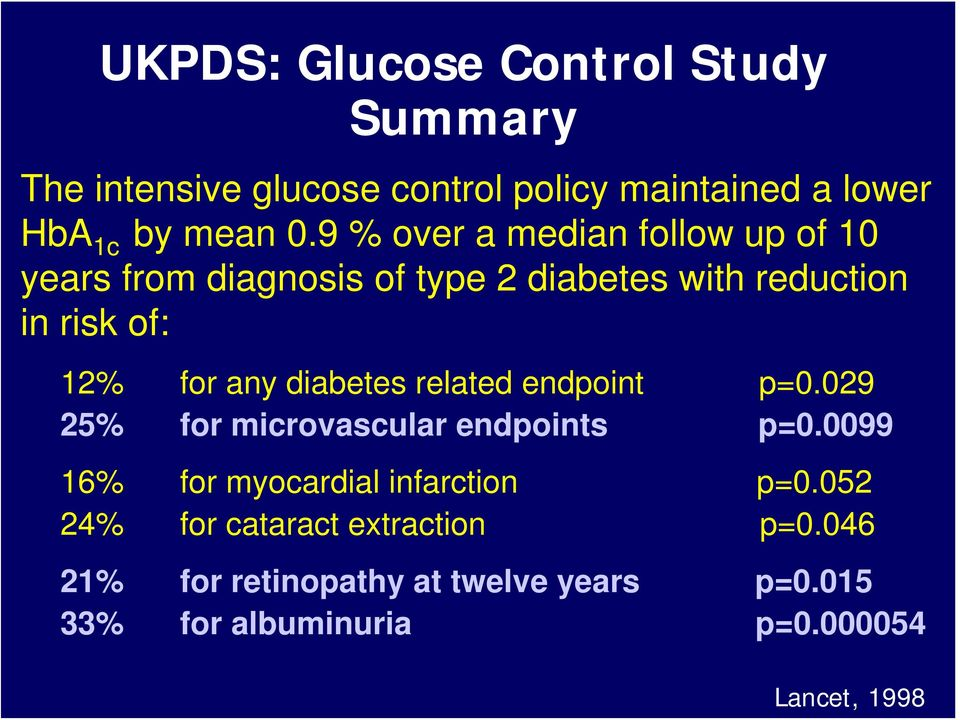 diabetes related endpoint p=0.029 25% for microvascular endpoints p=0.0099 16% for myocardial infarction p=0.