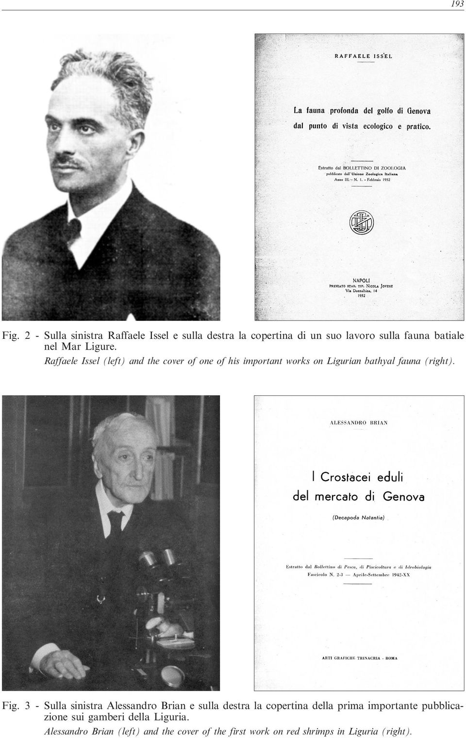 Ligure. Raffaele Issel (left) and the cover of one of his important works on Ligurian bathyal fauna (right).